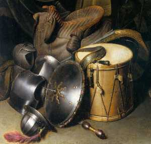 Gerrit (Gérard) Dou - A Soldier of the Leiden Civic Guard with an Arms Still Life (detail)