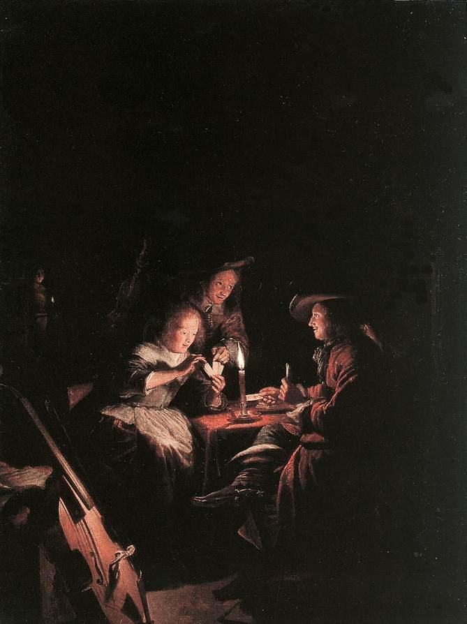 Cardplayers at Candlelight, 1660 by Gerrit (Gérard) Dou (1613-1675, Netherlands) | Oil Painting | WahooArt.com