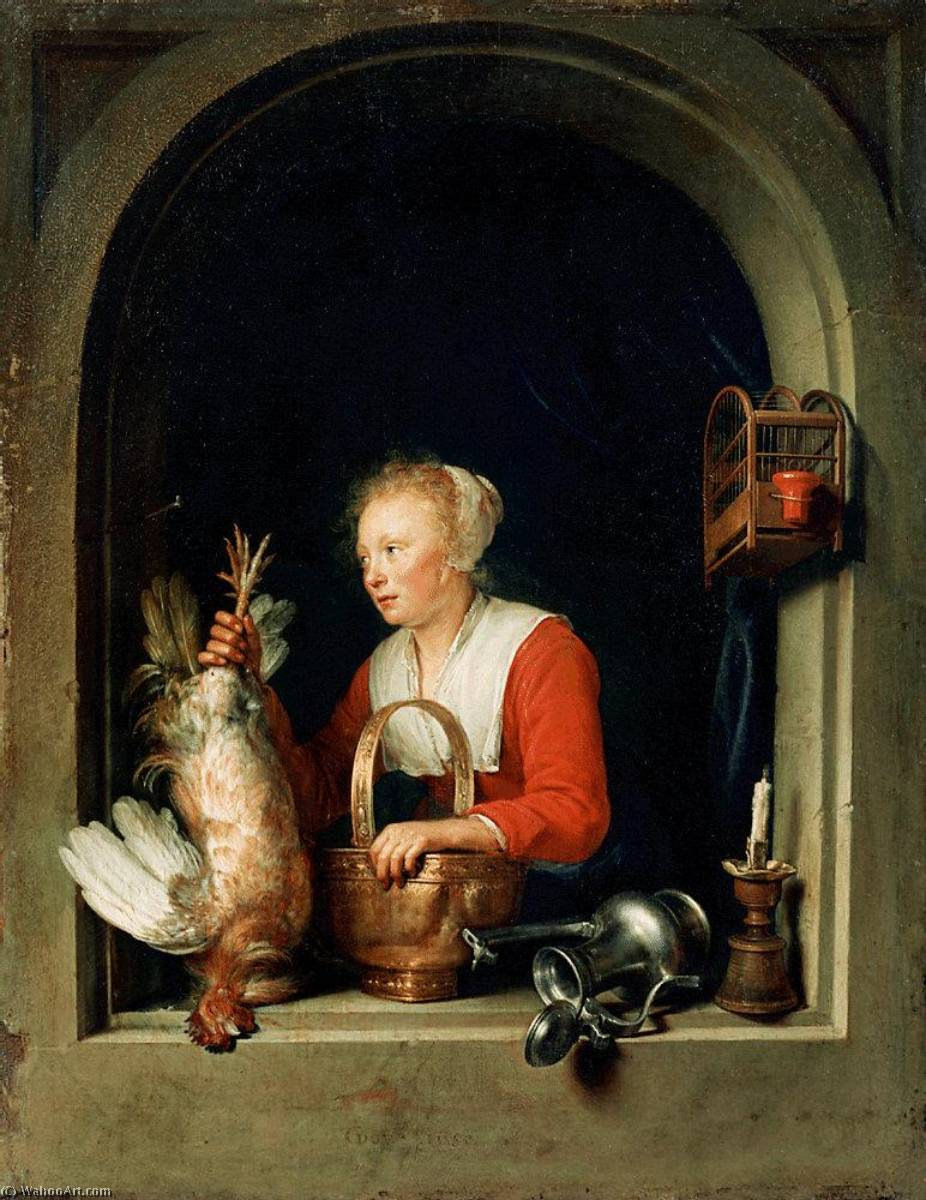 The Dutch Housewife, 1650 by Gerrit (Gérard) Dou (1613-1675, Netherlands) | Museum Quality Reproductions | WahooArt.com