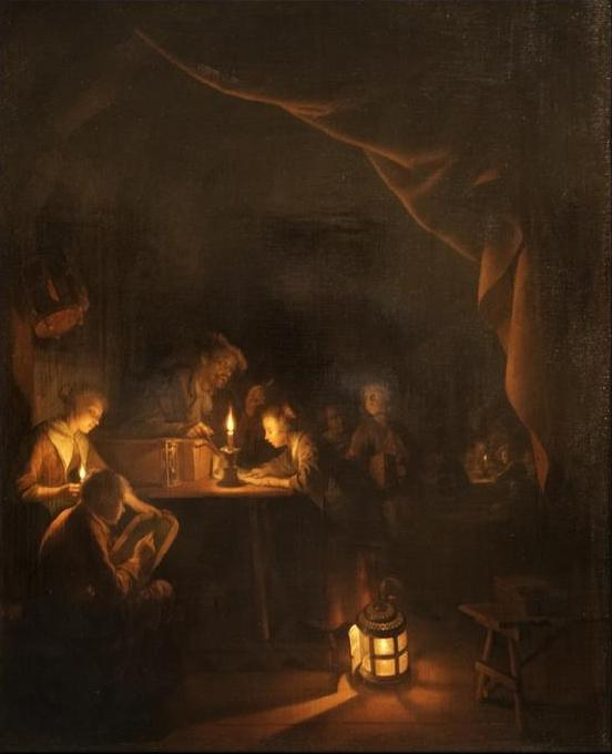 The Night School, 1665 by Gerrit (Gérard) Dou (1613-1675, Netherlands) | Oil Painting | WahooArt.com