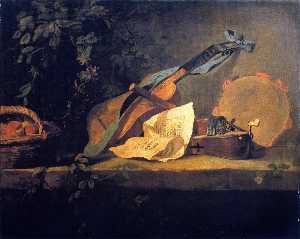 Jean-Baptiste Simeon Chardin - Musical Instruments and Basket of Fruit