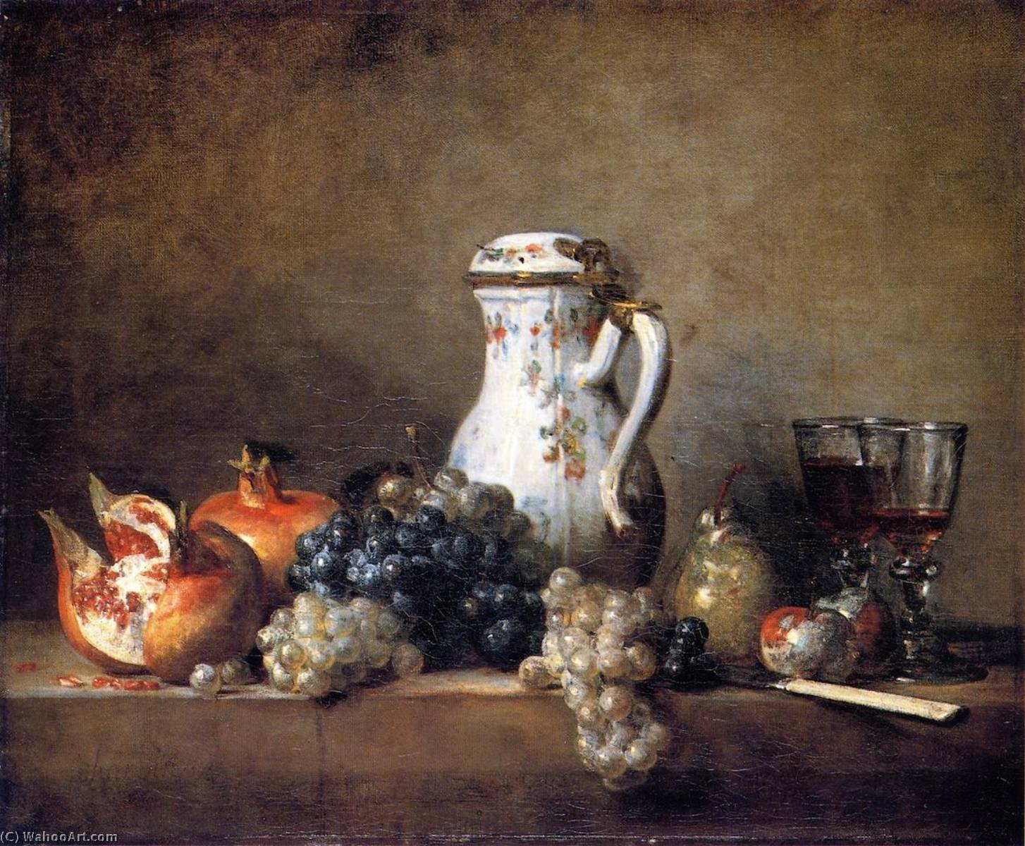 Grapes and Pomegranates, 1763 by Jean-Baptiste Simeon Chardin (1699-1779, France) | Museum Quality Copies Jean-Baptiste Simeon Chardin | WahooArt.com