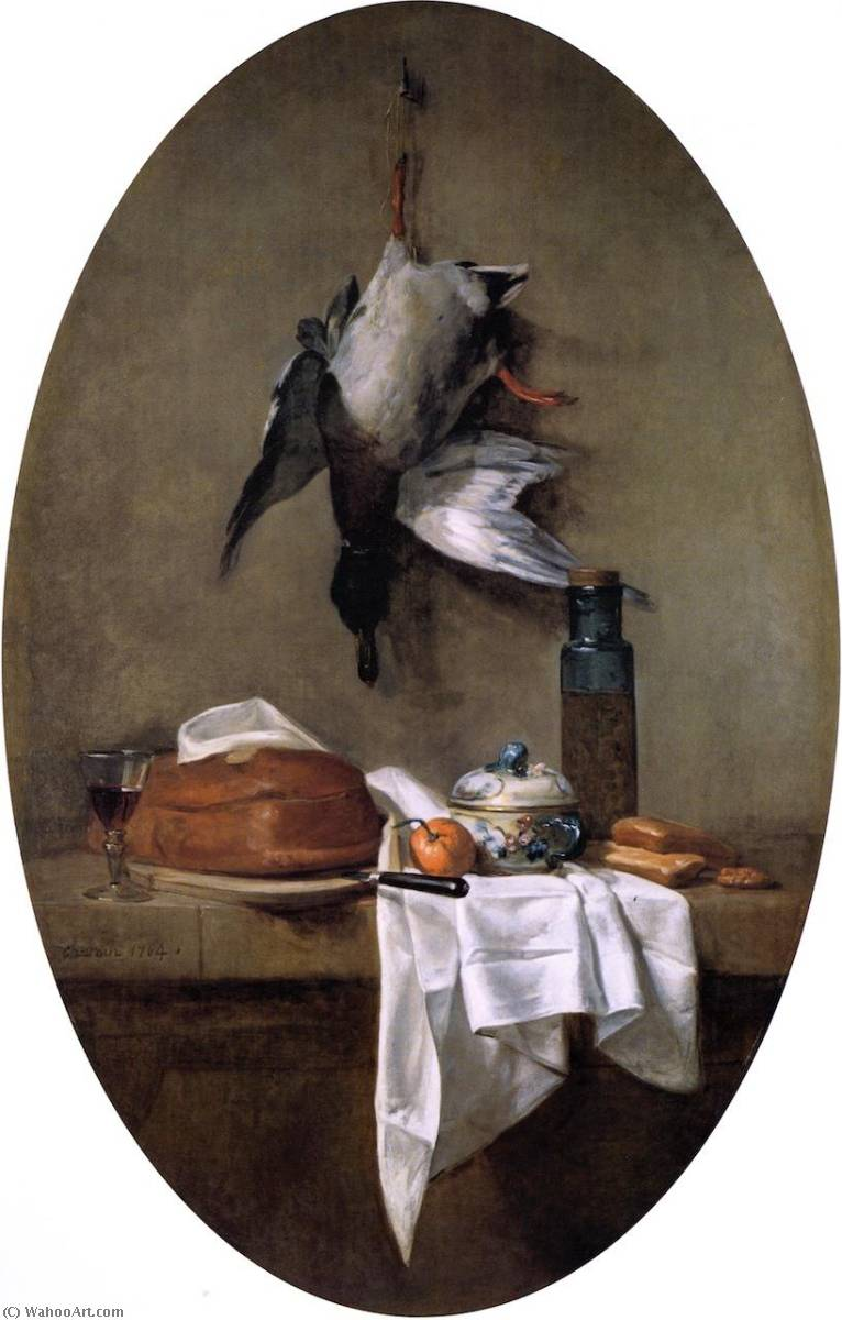 Duck Hanging by one Leg, Pâté, Bowl and Jar of Olives, 1764 by Jean-Baptiste Simeon Chardin (1699-1779, France) | Museum Art Reproductions Jean-Baptiste Simeon Chardin | WahooArt.com