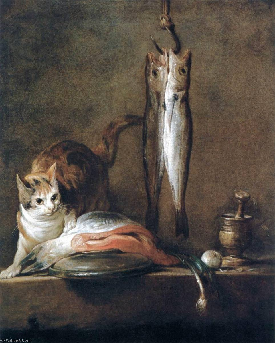 Still Life with Cat and Fish, 1728 by Jean-Baptiste Simeon Chardin (1699-1779, France) | Museum Quality Copies Jean-Baptiste Simeon Chardin | WahooArt.com