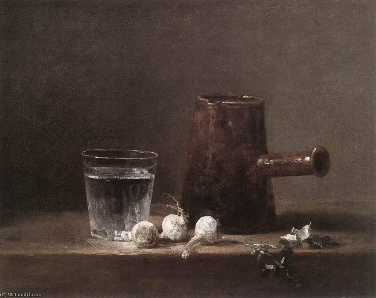 Water Glass and Jug, 1760 by Jean-Baptiste Simeon Chardin (1699-1779, France) | Paintings Reproductions Jean-Baptiste Simeon Chardin | WahooArt.com