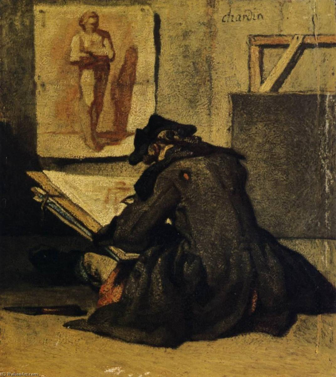 Young Sketcher, 1733 by Jean-Baptiste Simeon Chardin (1699-1779, France) | Paintings Reproductions Jean-Baptiste Simeon Chardin | WahooArt.com