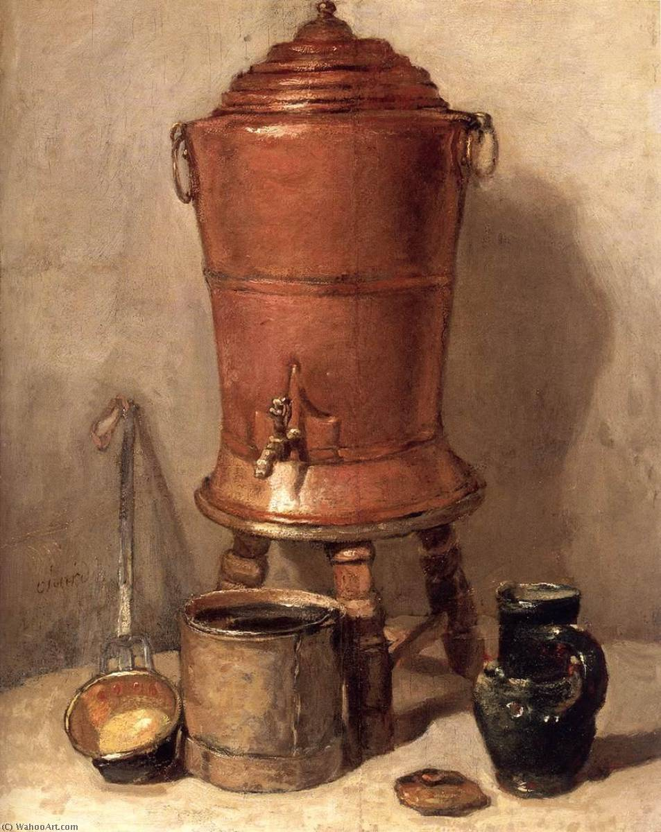 The Copper Drinking Fountain, 1734 by Jean-Baptiste Simeon Chardin (1699-1779, France) | Museum Art Reproductions Jean-Baptiste Simeon Chardin | WahooArt.com