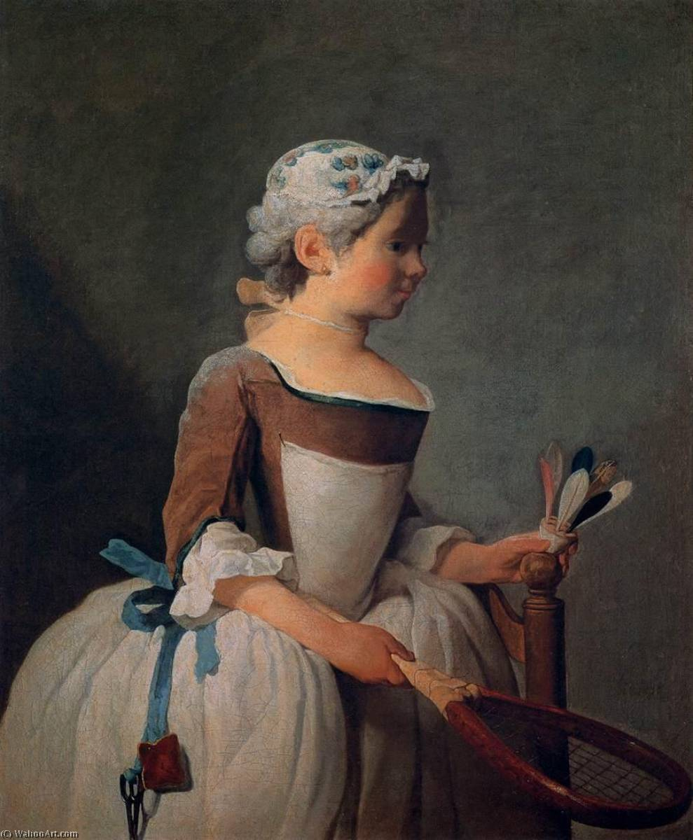 Girl with Racket and Shuttlecock, 1740 by Jean-Baptiste Simeon Chardin (1699-1779, France) | Painting Copy | WahooArt.com