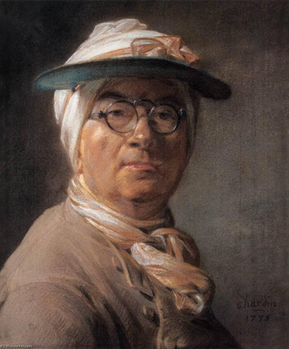 Self Portrait with an Eyeshade, 1775 by Jean-Baptiste Simeon Chardin (1699-1779, France) | Reproductions Jean-Baptiste Simeon Chardin | WahooArt.com