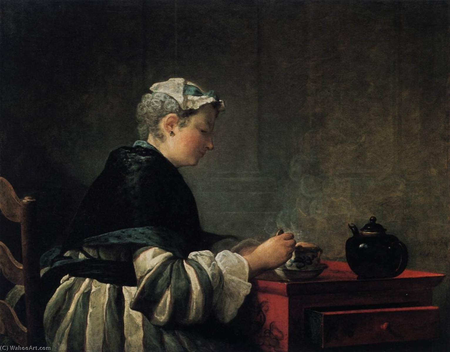 Woman Taking Tea, 1735 by Jean-Baptiste Simeon Chardin (1699-1779, France) | Museum Quality Copies Jean-Baptiste Simeon Chardin | WahooArt.com
