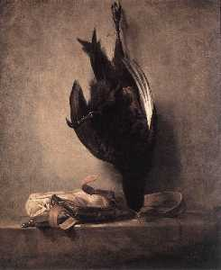 Jean-Baptiste Simeon Chardin - Still Life with Dead Pheasant and Hunting Bag