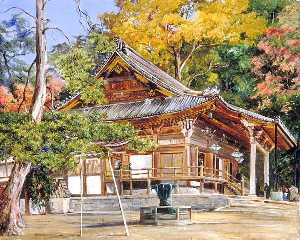 Marianne North - The Hottomi Temple at Kioto, Japan