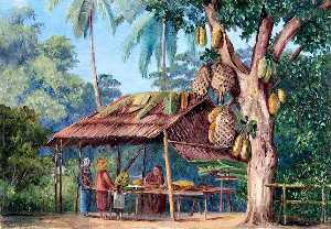 Marianne North - Jack Fruit Tree Shop, Malang, Java