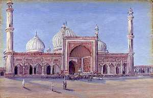 Marianne North - The Great Mosque of Delhi, India. Novr. 1878