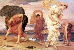 Lord Frederic Leighton - English Greek Girls Picking up Pebbles by the Sea