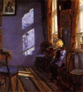 Anna Kirstine Ancher - Sunlight in the Blue Room. Helga Ancher Knitting in her Grandmother's Room