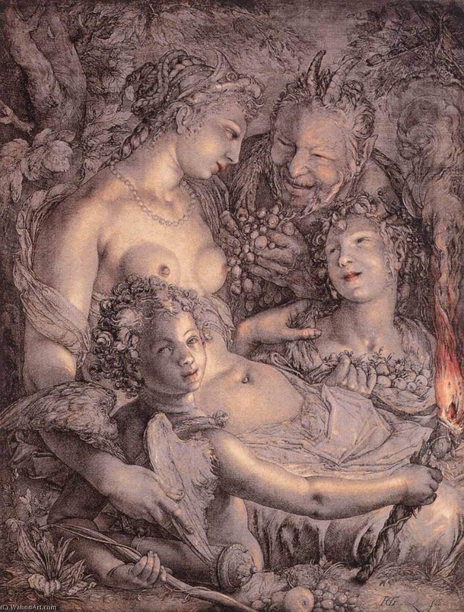 Buy Museum Art Reproductions | Latina Sine Cerere et Libero friget Venus English Without Ceres and Bacchus, Venus Would Freeze, 1602 by Hendrik Goltzius (1558-1617, Italy) | WahooArt.com