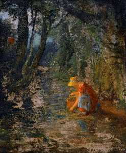 James Francis Danby - A Girl Collecting Berries by a Brook in a Wooded Landscape