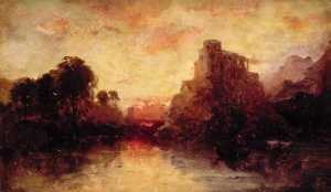 James Francis Danby - Evening Landscape with a Castle Overlooking a Lake