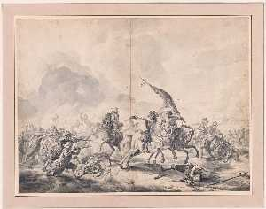 Jan Van Huchtenburg - Battle between Cavalrymen and Foot Soldiers