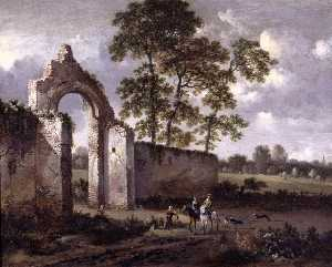 Jan Jansz Wijnants - Landscape with a Ruined Arch