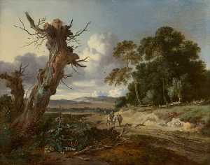 Jan Jansz Wijnants - Landscape with Two Dead Trees, Two Sportsmen with Dogs on a Sandy Road