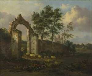 Jan Jansz Wijnants - Landscape with a Woman Driving Sheep through a Ruined Archway