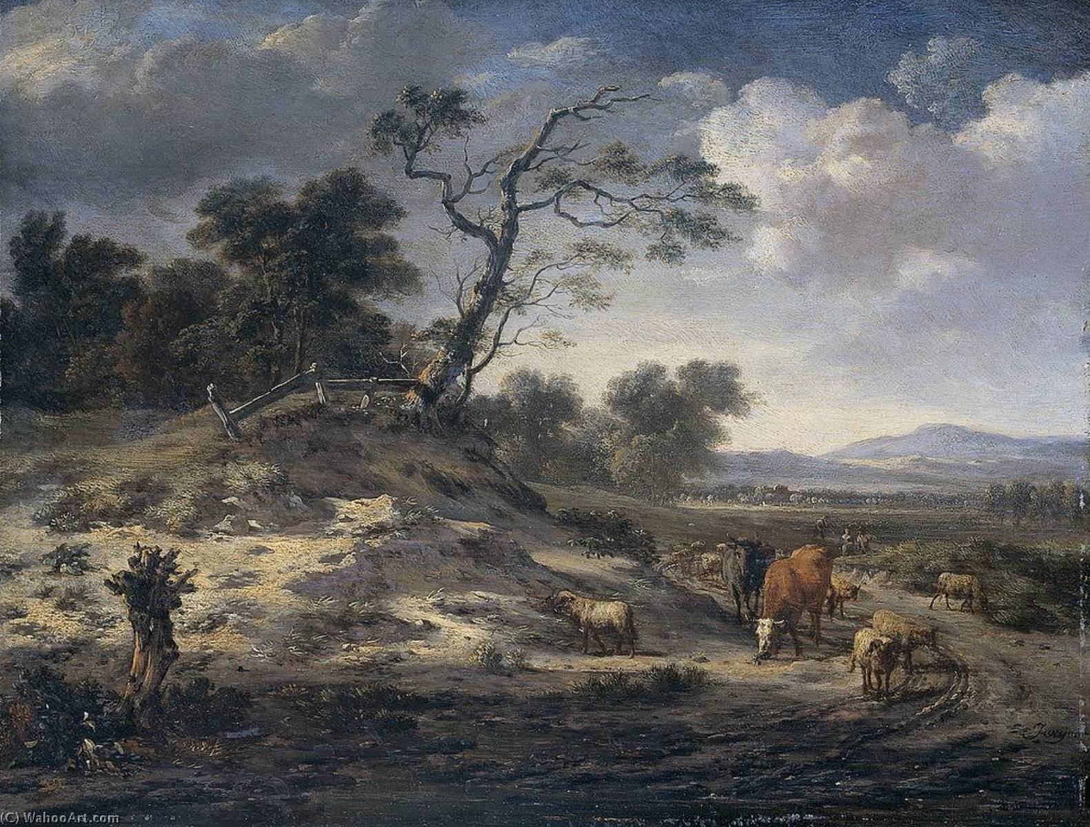 Landscape with Cattle on a Country Road, Oil On Panel by Jan Jansz Wijnants (1632-1684, Netherlands)