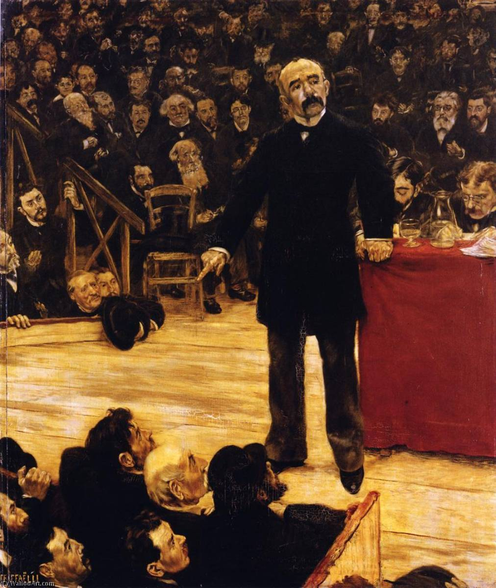 Georges Clemenceau Giving a Speech at the Cirque Fernando, 1883 by Jean-François Raffaelli (1850-1924, France) | Oil Painting | WahooArt.com