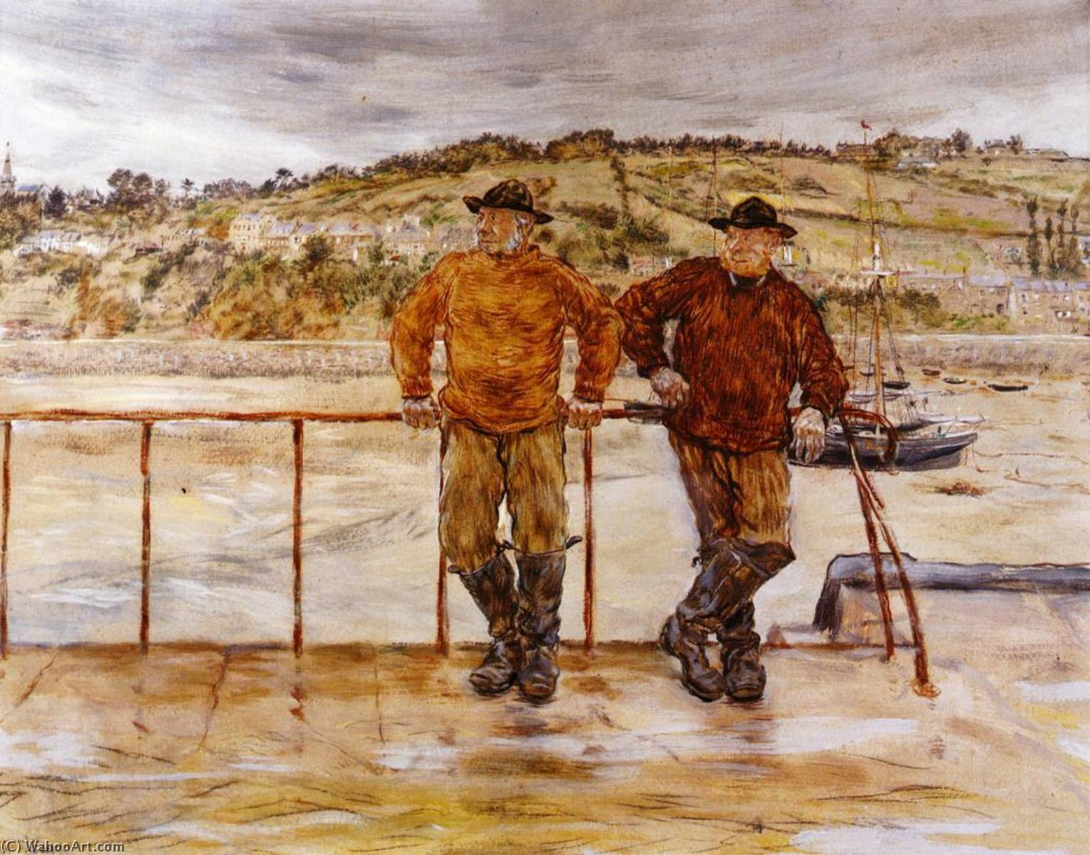 Fishermen at Jersey, 1885 by Jean-François Raffaelli (1850-1924, France) | Reproductions Jean-François Raffaelli | WahooArt.com
