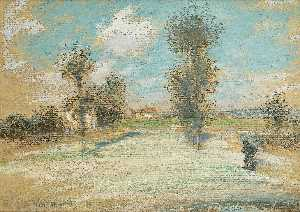 Jean-François Raffaelli - Landscape with a Peasant on the Road