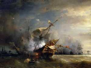 Jean Antoine Théodore De Gudin - Naval Combat off Cape Lizard in Cornwall, October 21, 1707