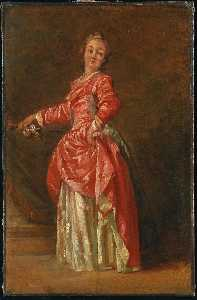 Jean Baptiste Le Prince - A lady, wearing a red dress, in an interior
