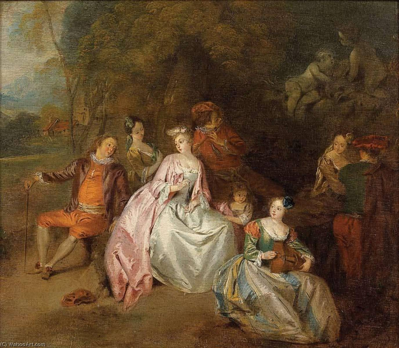 Gallant Scene in a Park, 1725 by Jean-Baptiste Pater (1695-1736, France) | Painting Copy | WahooArt.com