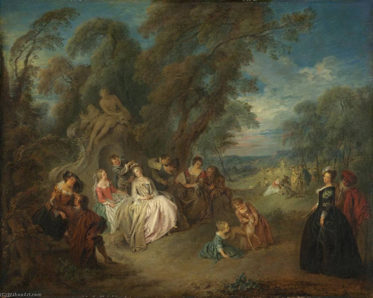 Fetes Champetre, 1730 by Jean-Baptiste Pater (1695-1736, France) | Museum Quality Reproductions | WahooArt.com