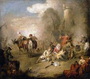 Jean-Baptiste Pater - Soldiers and Camp Followers Resting from a March