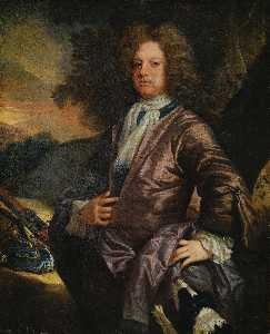 John Closterman - Portrait of William Paul (1673 1711) of Bray, Berkshire, with his dog and a gun