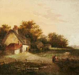 John Crome - Landscape with a Cottage and Trees