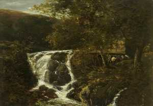 John Crome - Landscape with a Waterfall near Norwich, Norfolk, 1819