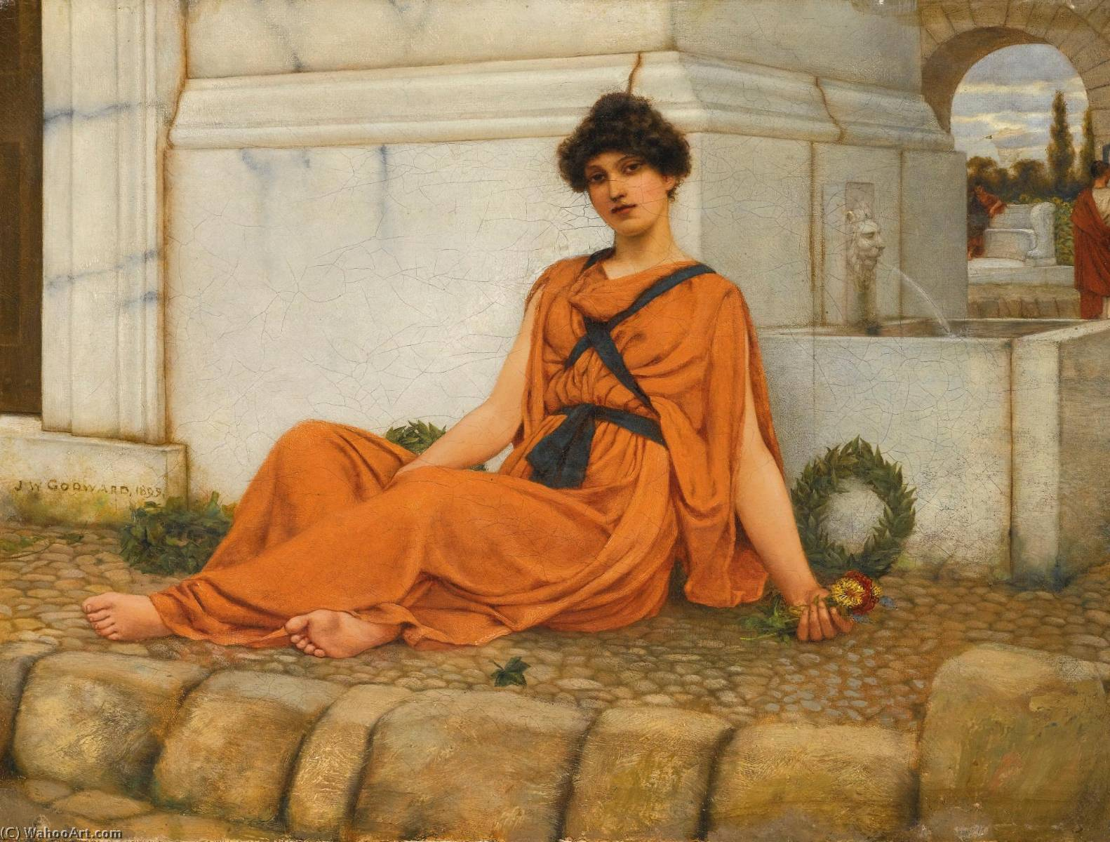 repose, the flower girl by John William Godward (1861-1922) | WahooArt.com