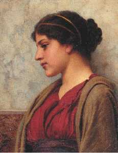 John William Godward - A CLASSICAL BEAUTY, FAR AWAY THOUGHTS