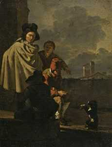 Karel Dujardin - Italians with a Dog