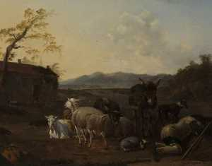 Karel Dujardin - Landscape with Sleeping Herdsmen