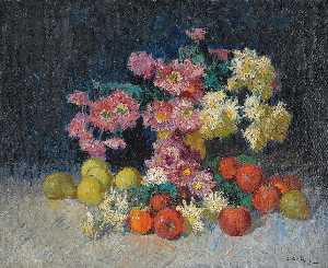 Konstantin Ivanovich Gorbatov - Still Life with Flowers and Fruit