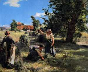 Léon Augustin L-hermitte - Harvest at the Farm on Rue Chaily