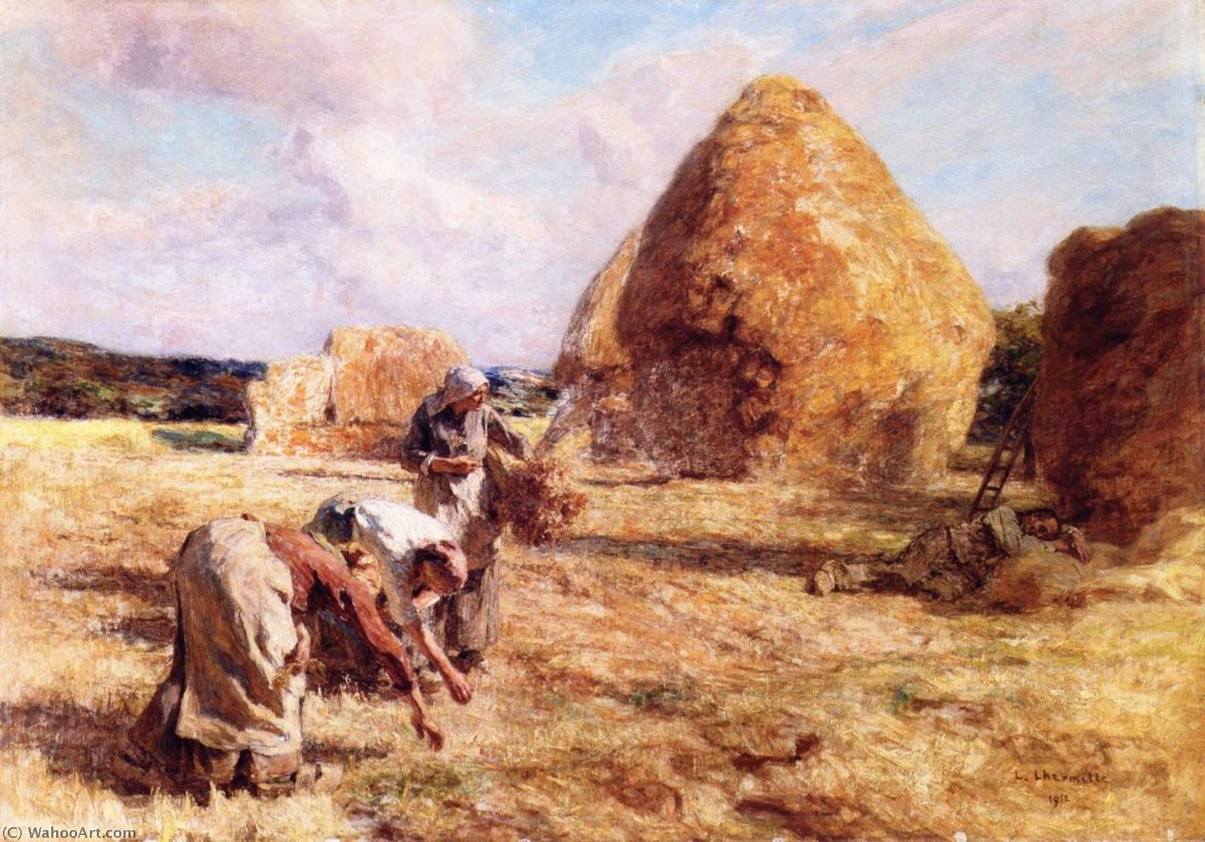Gleaners near the Haystacks, 1912 by Léon Augustin L'hermitte (1844-1925, France) | Museum Art Reproductions Léon Augustin L'hermitte | WahooArt.com