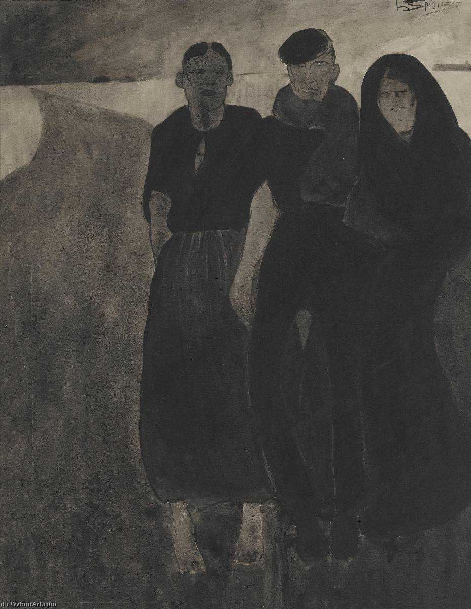 Fishermen and women by Leon Spilliaert (1881-1946, Belgium) | Oil Painting | WahooArt.com