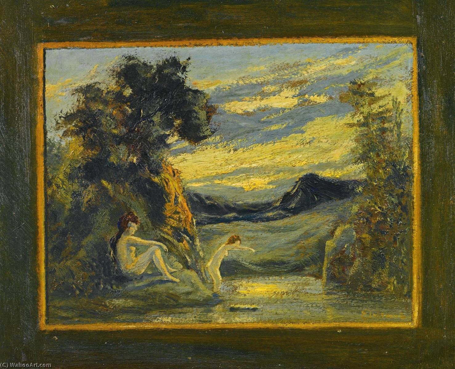Two Women Bathing by Louis Michel Eilshemius (1864-1941, United States) | Museum Quality Reproductions | WahooArt.com