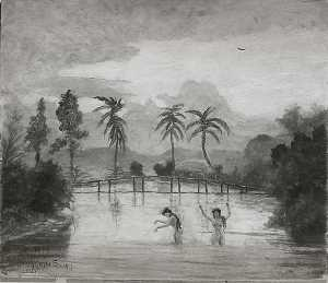Samoa, Oil On Canvas by Louis Michel Eilshemius  (order Fine Art fine art print Louis Michel Eilshemius)