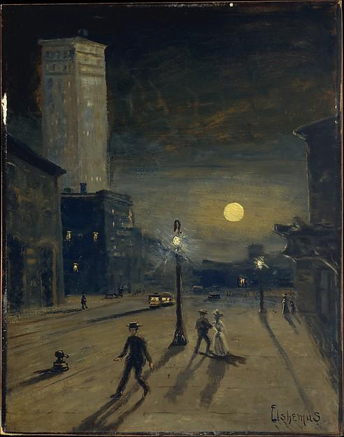 New York at Night, Oil by Louis Michel Eilshemius (1864-1941, United States)